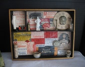 Hand made Shadow Box made with vintage pharmacy labels & found objects, decoupage and collage OOAK art