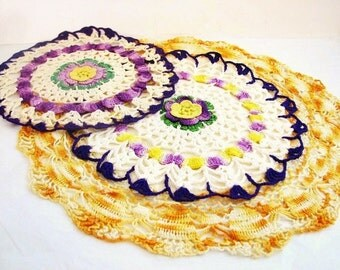Vintage Crocheted Doilies Doily, Trio of Purple and Yellow , Set of 3