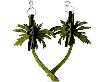 3D Palm Trees - Laser Cut Wood Earrings from Reforested Wood
