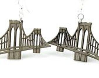 Brooklyn Bridge New York Earrings  - Laser Cut Wood From Sustainable Resources