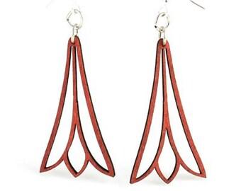 Trumpet Flower Earrings - wood earrings Laser Cut