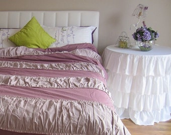 Ruched bedding Shabby cottage chic Duvet cover Twin Full Queen oversized 120x120 super King mauve lavender cotton custom bedding Nurdanceyiz