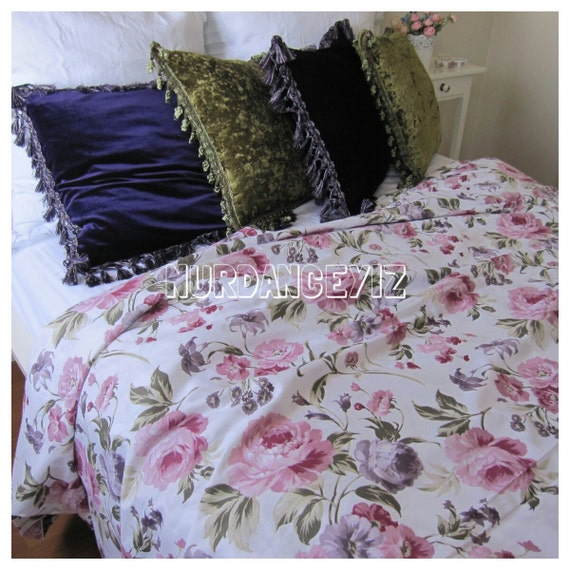 Pink Purple Lavender Shabby Chic Rose Floral Print Twin XL