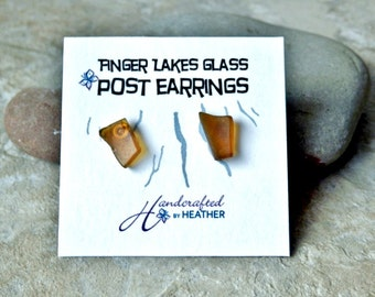 Brown Beach glass stud earrings, finger lakes gifts, finger lakes wedding, gifts for her, gifts for bridesmaids, gifts under 10, wife gift