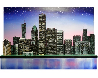 Skye Taylor Chicago skyline 3d Original art Cityscape Wall art Original one of a kind...Chicago in Twilight, 36 x 24, Ready to hang