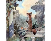 Fox and Grapes Greeting Card   Aesops Fable Card   Repro Charles Robinson   Sour Grapes Moral