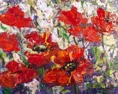 """Poppies Field original floral painting 8 x10"""""""