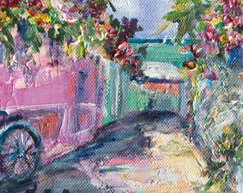 "Bermuda Lane original  painting 6 x 6"""