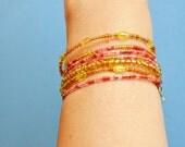 Boho Bracelet, Gold Pink Beaded  Memory Wire, Hand Made in The USA, Item No. De130