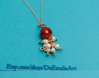 Carved stone  Pendant, Faux Pearl, copper wire, Vintage Inspired Made In the USA, item no D209