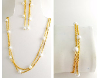Faux Pearl Set, Wedding Jewelry, Bracelet, Earrings, Double row Necklace, Hand Made in The USA, Item No. De127