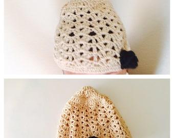 Crochet Hat/Beanie, Beige/Camel, Black Rose, Woman Accessory, Hand Made in the USA, Item No. BDE004