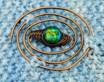 Blue and Green Spiral Shawl Pin in Vintage Bronze