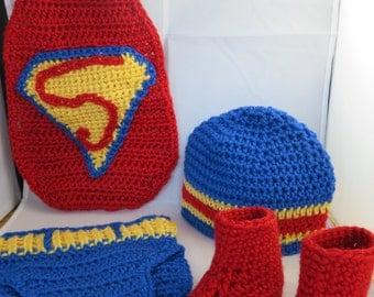 Crochet Infant Superman Inspired Photo Prop/Costume
