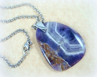Amethyst Gemstone Pendant Necklace - Purple and Silver Necklace - Dog Teeth Amethyst Pendant on Silver Rolo Chain