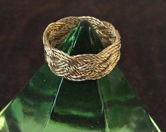 Hand-tied twisted gold-filled Turks Head Knot ring