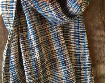 Indigo Handwoven cotton shawl scarf with multicolor stripes