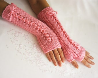 BLACK Friday Sale Long  Fingerless Gloves, CANDY PINK, Merino Wool Mittens, Women Arm Warmers , Hand Knitted, Eco Friendly