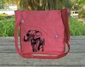 Red cotton canvas messenger bag, screenprint messenger bag, walking bag, shoulder bag, diaper bag