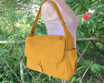Golden canvas messenger bag, school bag, travel bag, womens purse, shoulder bags for women