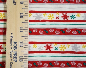 Roses and Snowflake Stripes Cotton Jersey Knit Fabric