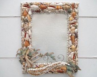 Nautical Shell Mermaid Mirror, Large, Nautical Wall