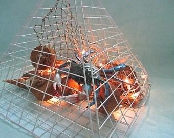 Nautical Crab Pot Hanging Light, Crab, Driftwood, Buoys, Netting, Shells, Starfish, Lights