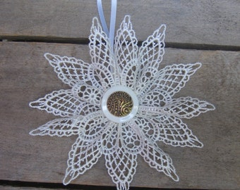 White Lace Snowflake Christmas Ornament, Gold Center Winter Snowflake, Tree Ornament, Holiday White, Ornament