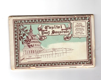 Vintage Washington DC and State Capital Postcard Souvenir Folder, Retro Road Trip Souvenir Ephemera, Travel Journal, Scrapbook Supplies