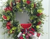 Watermelon Wreath-Summer Wreath-Summer Wedding-Picnic Decoration-Watermelon Decor-Country Wreath-Barn Wedding-Fruit Wreath-Watermelon Wine