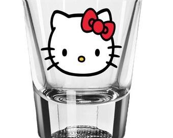 Hello Kitty Shot Glass, Personalized Shot Glasses, Wedding Favors, Gifts for Bridesmaids, Custom 2oz Shot Glass