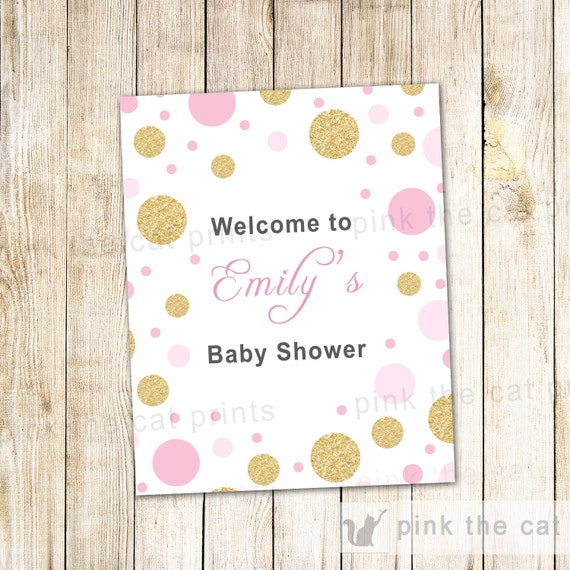 baby shower welcome sign pink gold glitter confetti printable