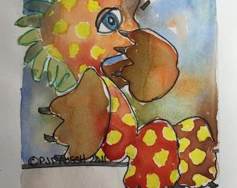 Original Watercolor Painting, Creature Painting, Original Art, Playful Art, Monster Art, Monster Painting, Colorful Art
