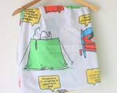 Vintage SNOOPY Charlie Brown Flat Sheet....vintage sheet. fitted sheet. kids. children. television. tv show. kids bedding. cartoon. rainbow