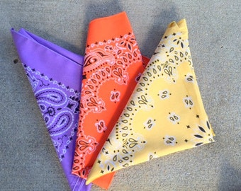 Vintage BANDANA SET of 3 Scarf....colorful. rainbow. hipster. retro scarf. 1980s. mod. head. neck. groovy. bright. bold. bandana. pastel