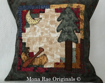 Canoe Pillow ~ 18 Inch OOAK ~ Hand Applique & Hand Quilted ~ Over 1,000 Stitches