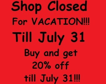 Alchemyshop closed for Vacation till July 31! You can get 20% discount