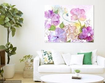 Original Painting, Flower Artwork, Pastel Art Work, Floral Wall Decor, Modern Botanical, Pink Fine Art, Like Watercolor Flowers, Alcohol Ink