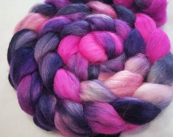 Alpaca/Merino/Tussah Silk Roving-50/30/20-Hand Dyed/Painted - 4 oz - Pink, Hot Pink and Navy Blue