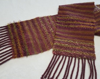 Hand Woven striped and textured Scarf in Wine and Green