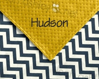 Baby Blanket - Navy/Ivory Chevron MINKY, Corn Yellow MINKY Dot - Hayden - BB1