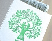 "Letterpress Christmas Card Scandinavian Folk Style Green Tree of Life ""Peace"" featuring a dove or partridge the tree of life in green"