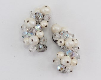 Vintage Aurora Borealis Crystal Glass Faux Pearl Ivory Off White Beaded Cluster Climber Mid Century Hollywood Regency Clip On Earrings