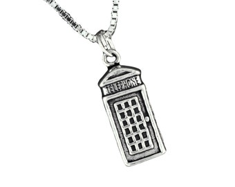 British Telephone Booth Pendant Necklace with 18 Inch Box Chain 925 Sterling Silver