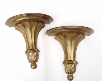 Vintage Brass Sconces, Floating Wall Shelves, Brass Bookends, Brass Wall Hanging, Metal Display Shelf