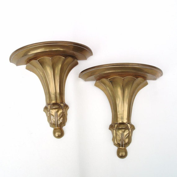 Vintage Wall Sconces Brass : Vintage Brass Sconces Floating Wall Shelves Brass Bookends