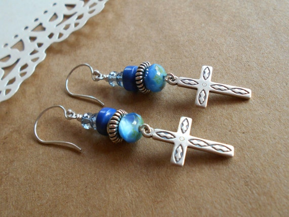 Sterling Silver Blue Beaded Christian Cross Faceted Czech Dangle Drop Rondelle Southwest Country Chic Blue-Jean Earrings