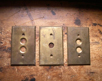 Vintage Brass Push Button Light Switch Covers