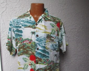 70's Vintage Men's  OP Silky Rayon Hawaiian Shirt surfer med.