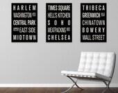 NEW YORK CITY Neighborhoods Subway Sign Prints. Bus Scrolls. (Collection of 3)